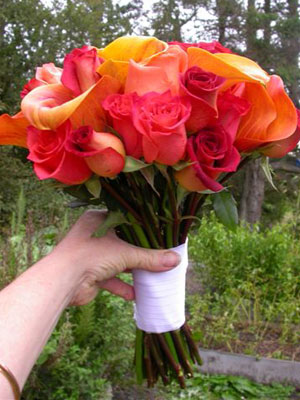 Posy Style Wedding Bouquet of assorted dwarf callas and roses in rich autumnal tones