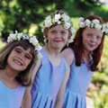 Flower girl Hair Leis of roses, minicarnations and ribbons