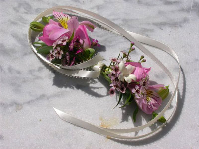 Wedding Wrist Corsage of alstro, stephanotis, waxflower
