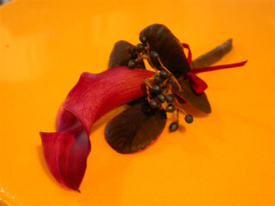 Wedding Boutonniere of dwarf calla, viburnum berry